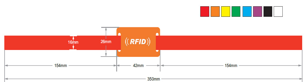 size of stain rfid wristbands